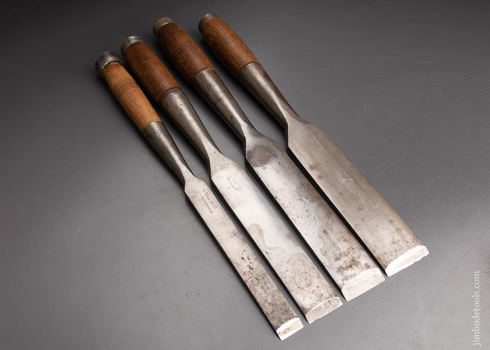 Great Set of Four Timber Framing Mortise Chisels by UNDERHILL - 93070