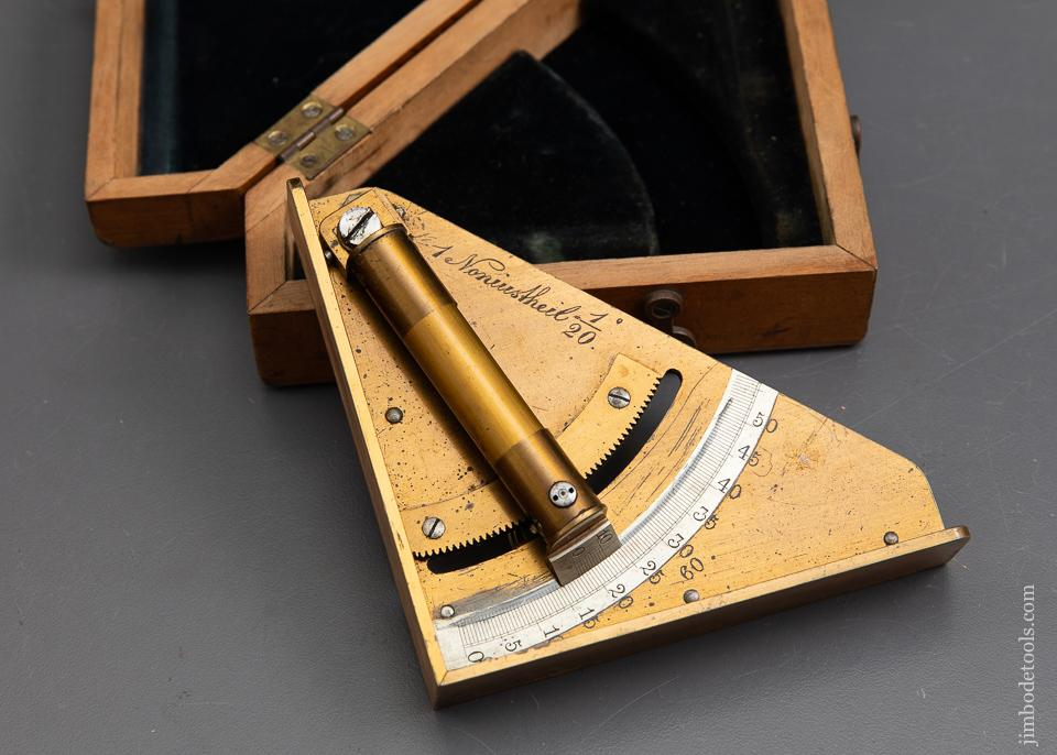 Beautiful Brass Gunner's Inclinometer Level in Original Fitted Wooden Box - 93105