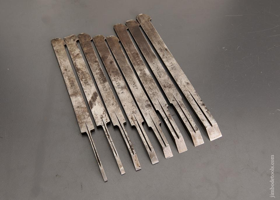 Set of Eight Graduated W. BUTCHER Plow/Plough Plane Irons - 93245