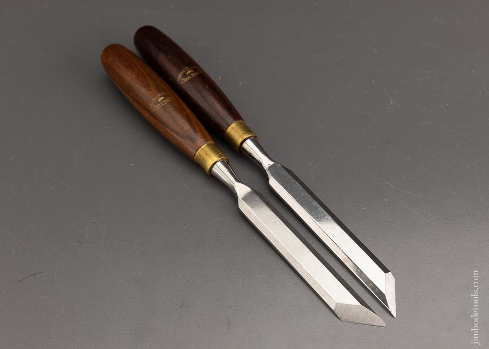 MINT Left & Right CROWN TOOLS Rosewood Handled One inch Skew Chisels - 93417