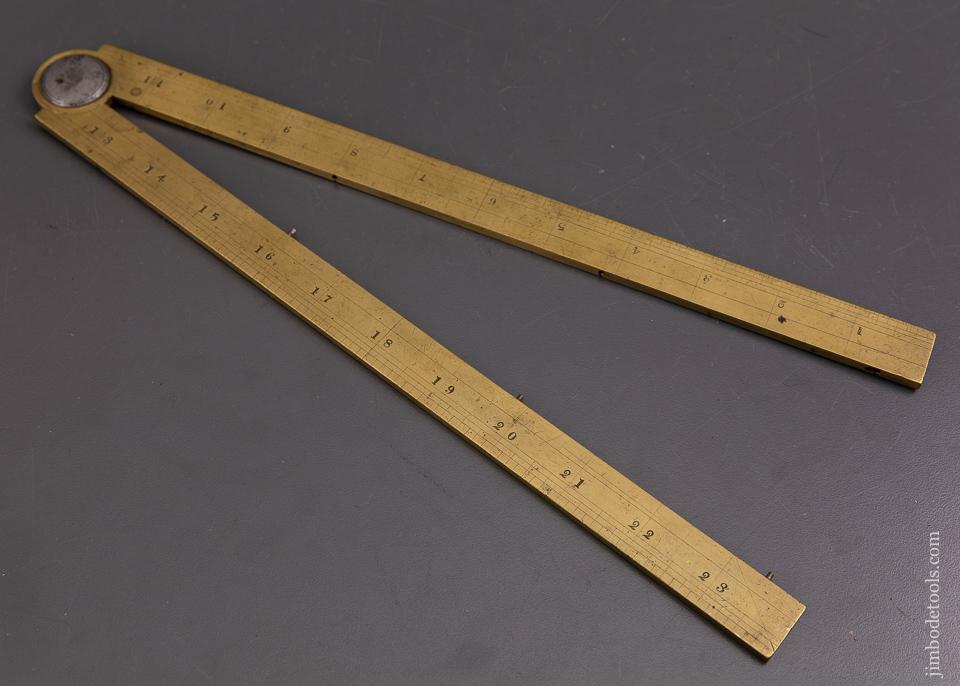 RARE Two Foot Heavy Brass Folding GEAR SECTOR Rule by JOHN ORSWELL Fall River, MA - 93431UR