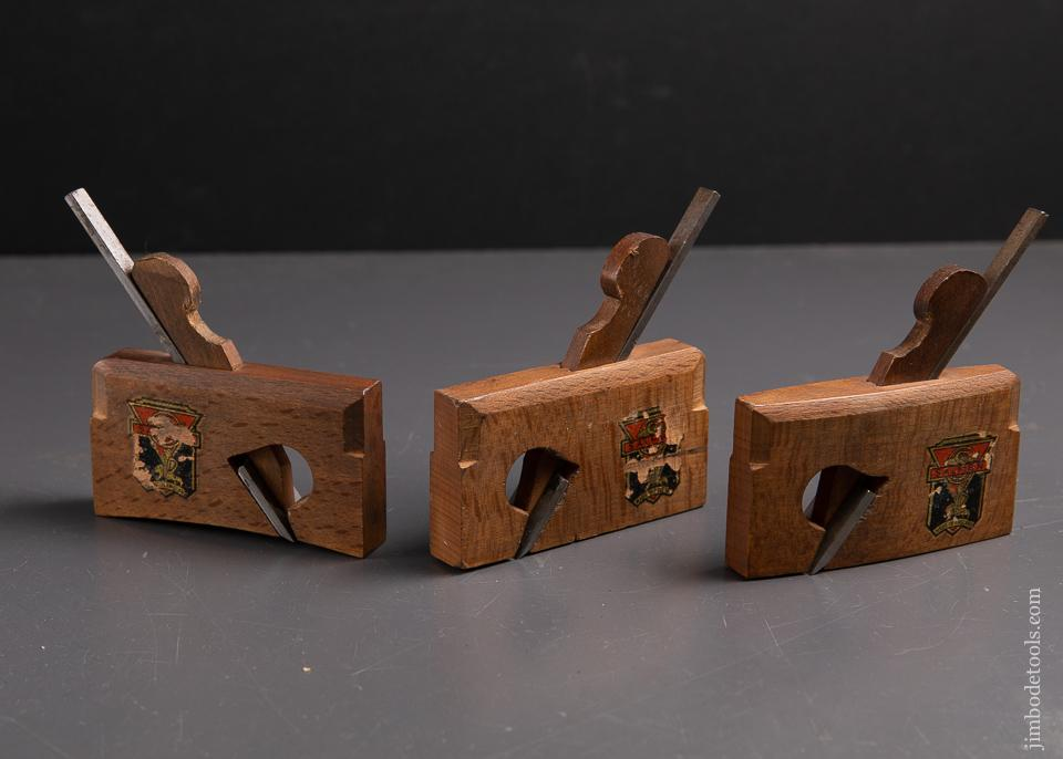 Three Extra-Fine SALMEN Miniature Coach maker's Rabbet Planes NEAR MINT with Decals - 93435R