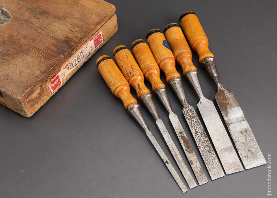 BERG ESKILSTUNA No. 9188 SHARK Six Piece Socket Chisel Set EXTRA FINE in Original Wooden Case - 93520