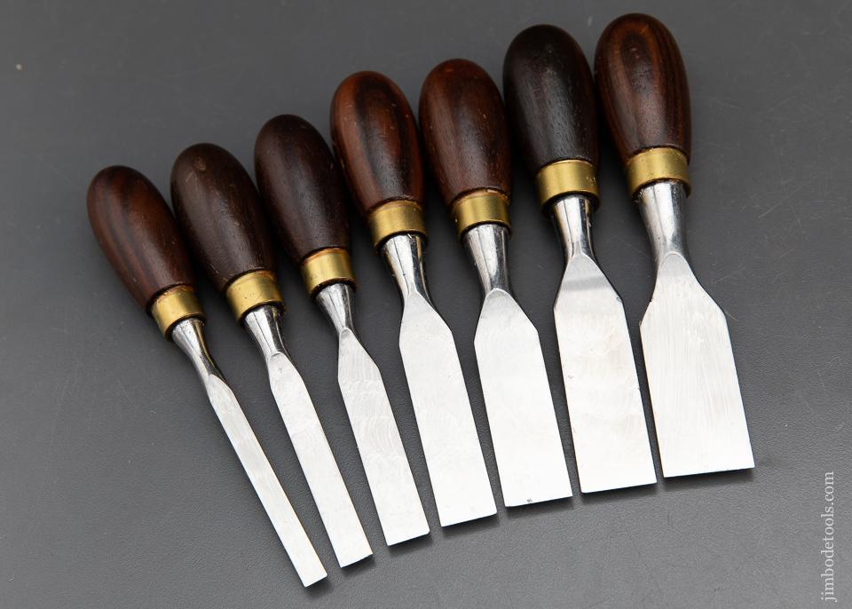 MINT Set of Seven CROWN TOOLS Rosewood Butt Chisels - 93667