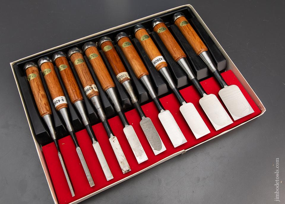 MINT Set of Ten Japanese Chisels in Original Box - 93714