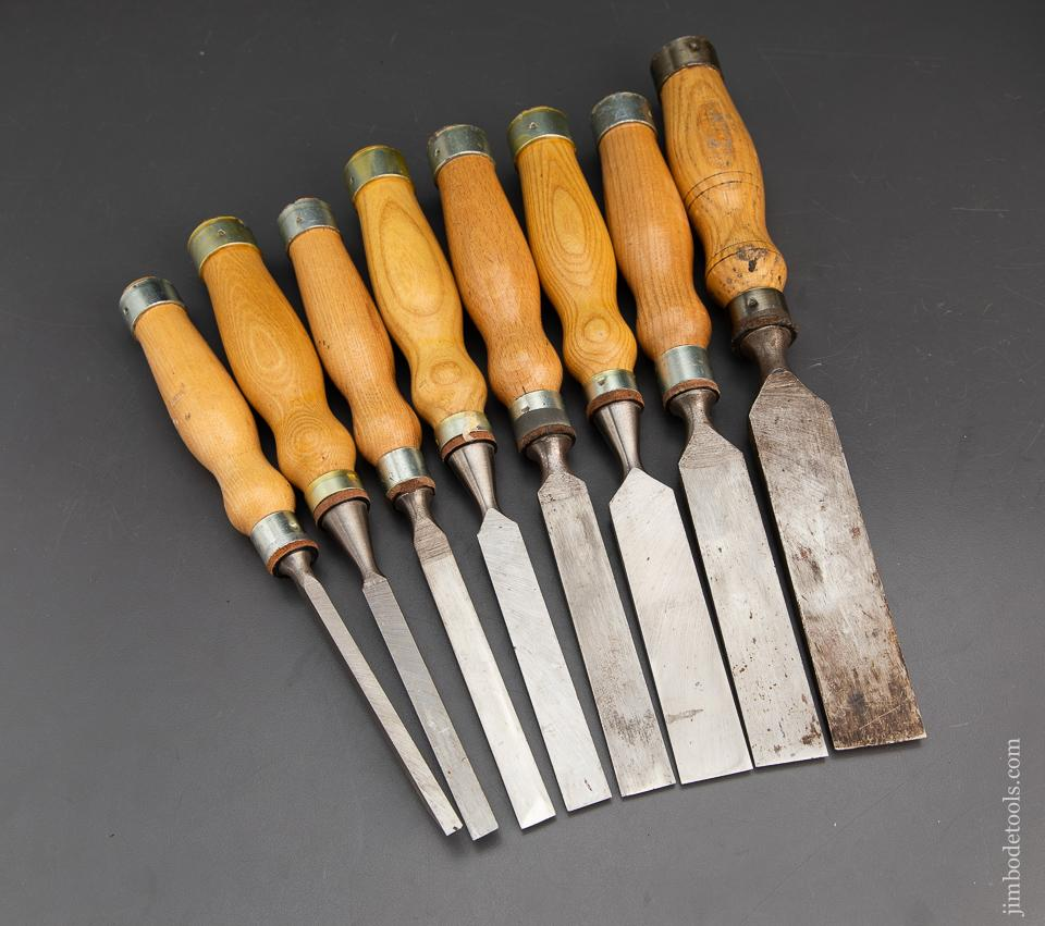 Excellent set of Eight MARPLES Heavy Mortise Chisels - 93817