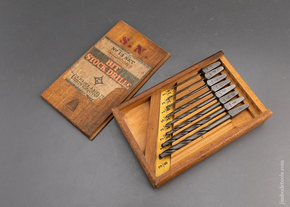 CLEVELAND TWIST DRILL CO No. 13 Set of Bit Stock Drills in Original Wooden Box - 93853