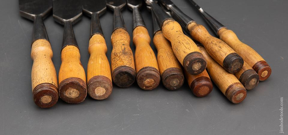 Excellent! COMPLETE Set of Twelve T.H. WITHERBY Socket Firmer Chisels - 94021
