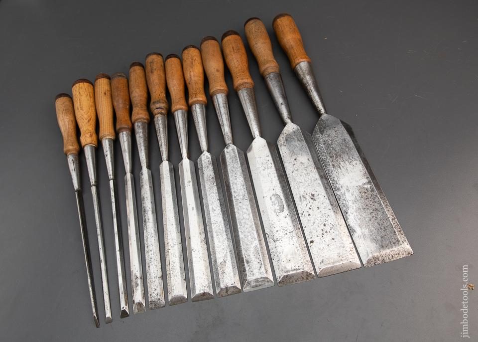Rare! COMPLETE Set of Twelve JAMES SWAN Socket Firmer Chisels FINE - 94266