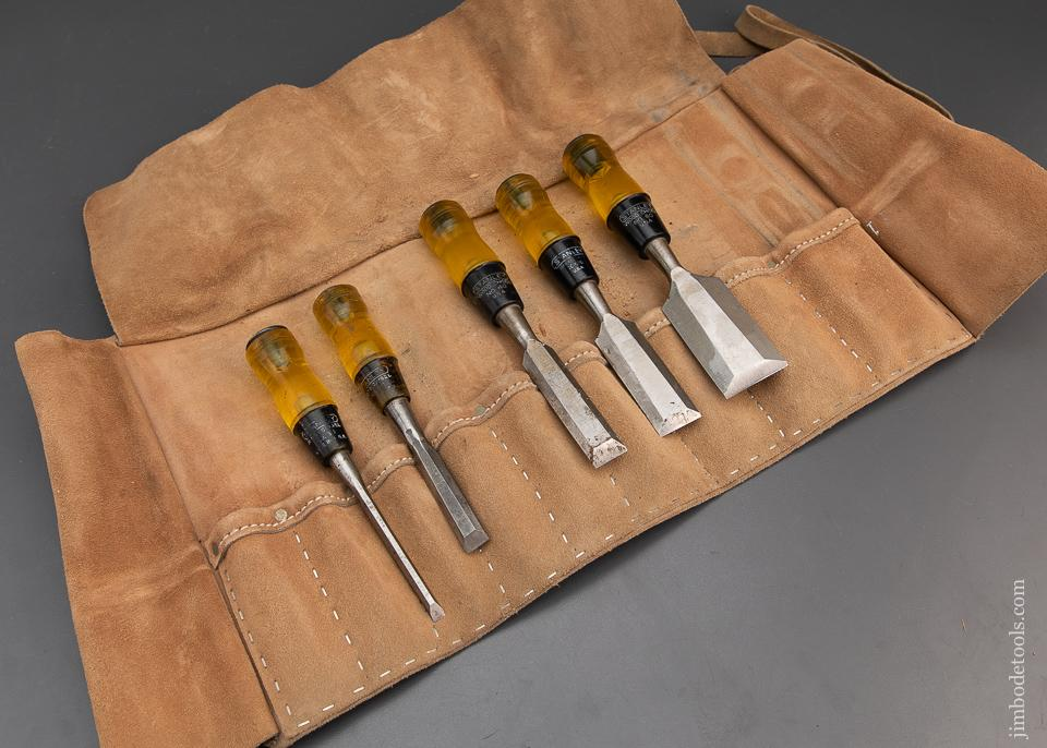 Five STANLEY No. 60 Wood Chisels in Roll - 94327