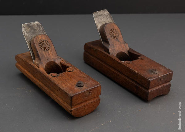 Ultra Rare and Exquisite Pair of 18th Century Dutch Hollow and Round Planes Marked IDI - 94620