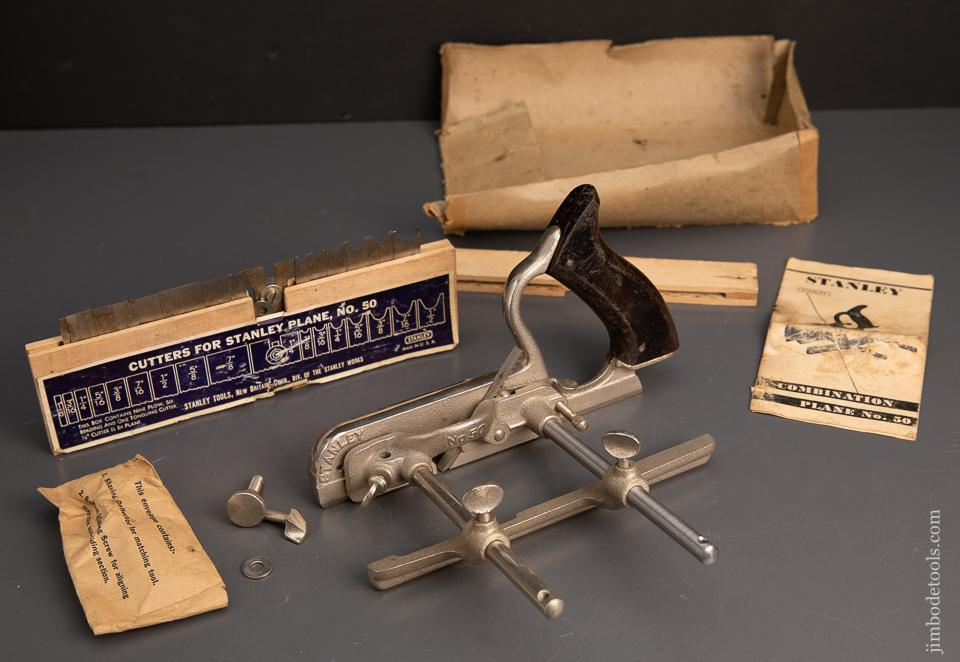 Great User STANLEY No. 50 Combination Plane with all 17 Cutter and 2 stops & Instructions - 95117