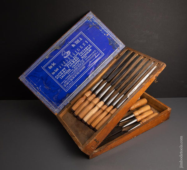 Magnificent Complete Set of 12 JAMES SWAN Socket Firmer Chisels in Original Box! - 95237