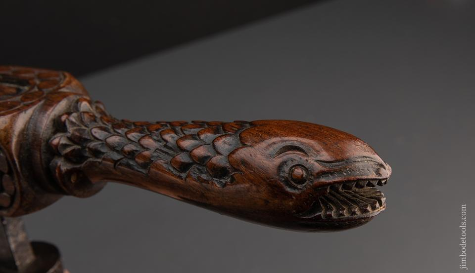 Outstanding 18th century Carved Handled Cock Auger with SERPENT HEADS - EXCALIBUR 140