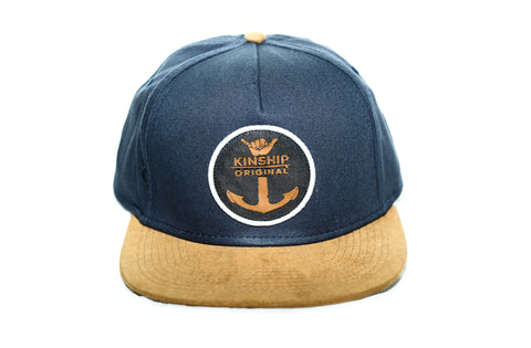 Shaka Anchor Surfing Emblem Navy and Suede Hat Kinship Original