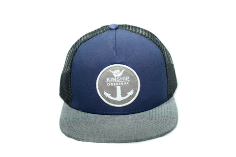 Shaka Anchor Surfing Emblem Blue & Black Oxford Hat Kinship Original