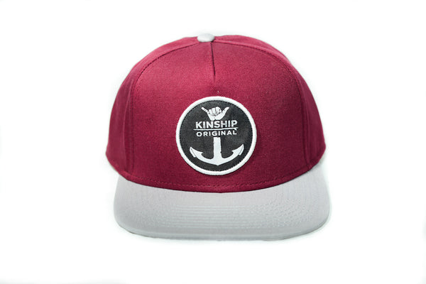 Shaka Anchor Surfing Emblem Maroon and Steel Hat Kinship Original