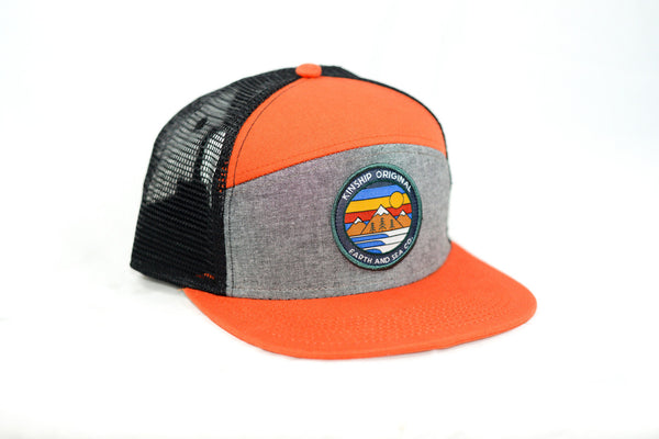 Explorer Hat- Rust Orange & Black Oxford Chambray