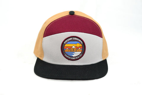 Explorer Snapback Hat- Burgundy, Black, Grey, & Tan