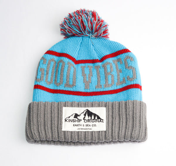 Good Vibes Beanie- Aqua, Red, and Silver