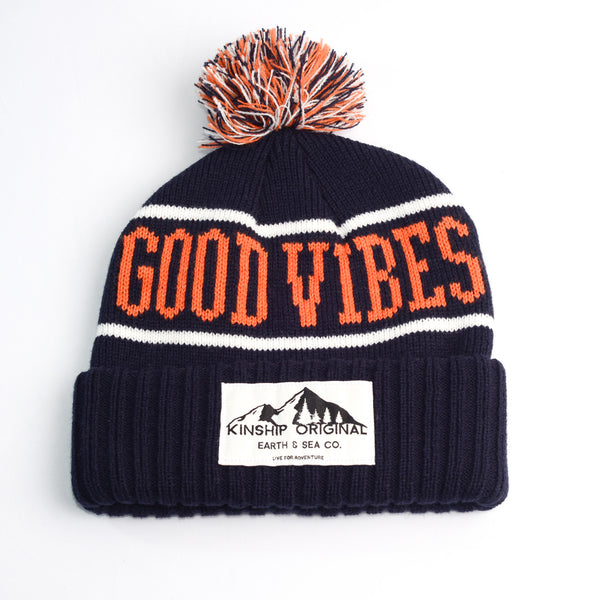 f07114f9351 Good Vibes Beanie- Navy Orange White