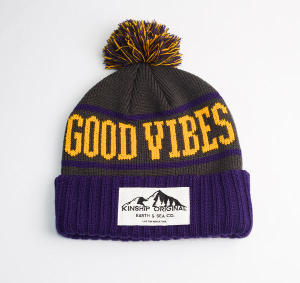 Good Vibes Beanie- Purple/Gold/Grey