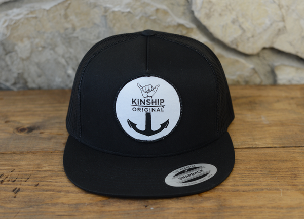 Shaka Anchor Surfing Black Trucker Hat Kinship Original
