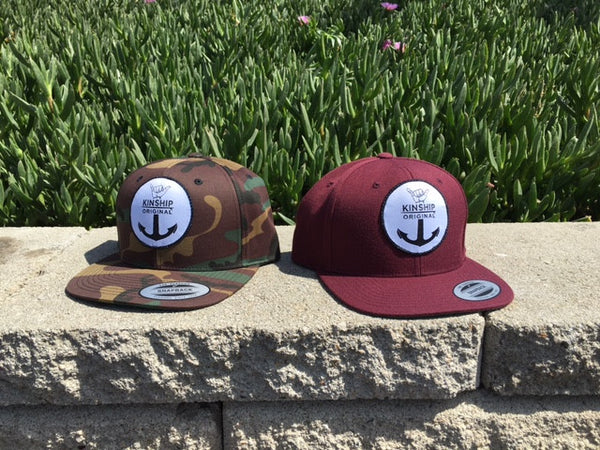 Burgundy Shaka Anchor Surfing Snapback hat Kinship Original