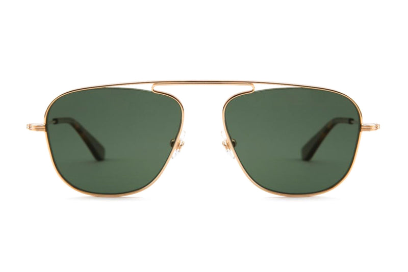 krewe leon 24k gold green rye sunglasses