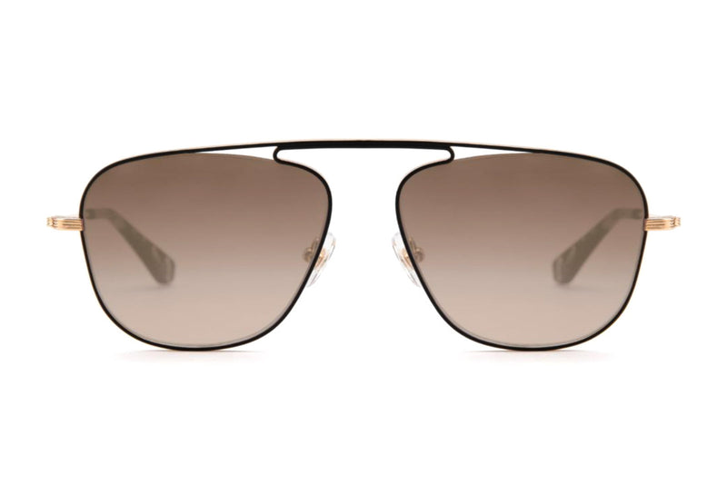 krewe leon rose gold charcoal 24k gold sunglasses