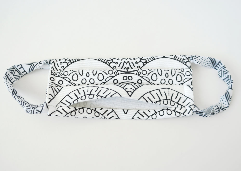Black and white fabric face mask