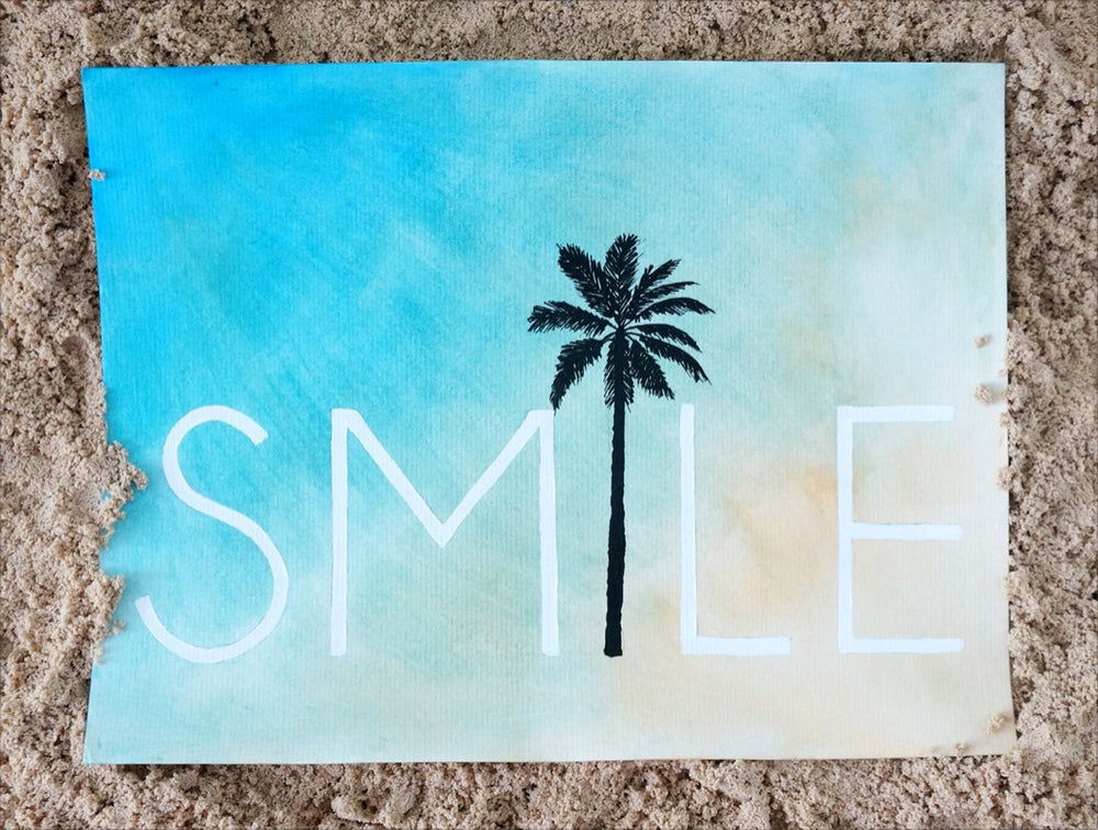 Smile Palm Tree Beach Wall Art Print