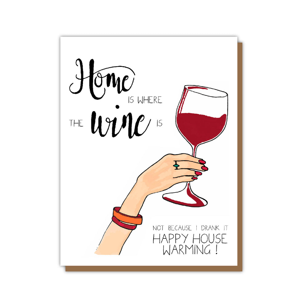 Wine Funny Housewarming Greeting Card Teluna