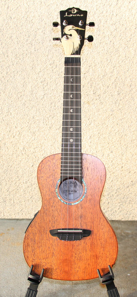 LUNA SOLID MAHOGANY CONCERT ELECTRIC – EGRET INLAY