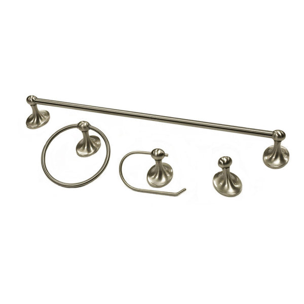 Bathroom hardware set plaza collection towel bar, ring, toilet paper holder, and hook contemporary in brushed nickel.