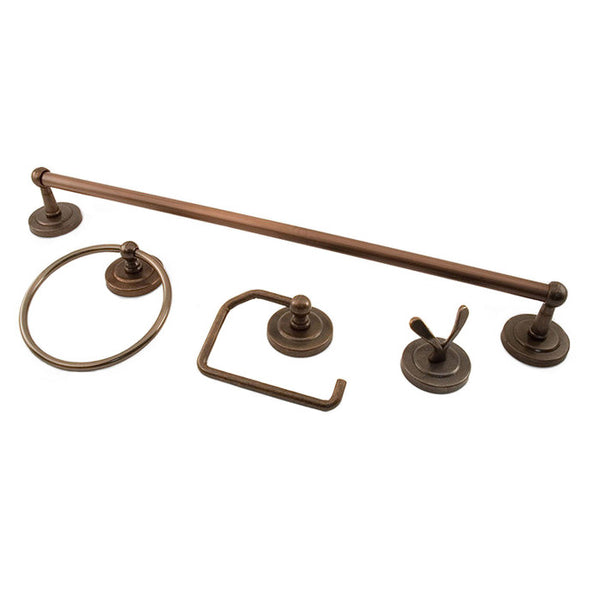 Bathroom hardware set palmer collection towel bar, ring, toilet paper holder, and hook classic in oil-rubbed bronze.