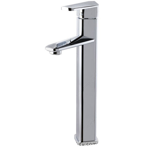Riveo bathroom sink faucet A195140 contemporary single handle tall with chrome finish.