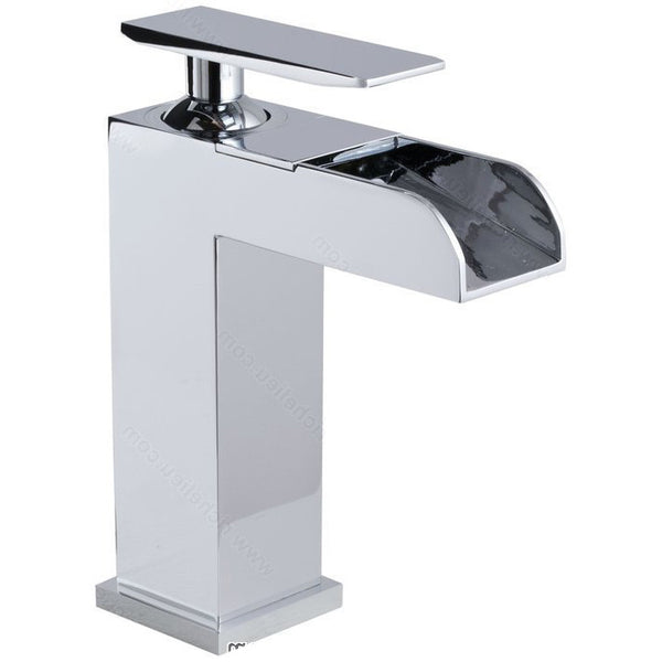 Riveo waterfall sink faucet for the bathroom vanity A216140 one handle solid brass construction with chrome finish.