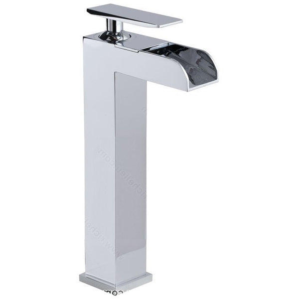 Tall riveo waterfall sink faucet for the bathroom vanity A217140 one handle solid brass construction with chrome finish.