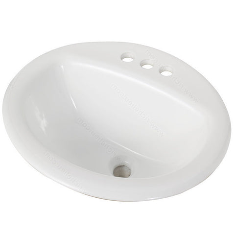 Riveo round bathroom sink vessel three hole drop-in porcelain white washbasin for vanity ALD863