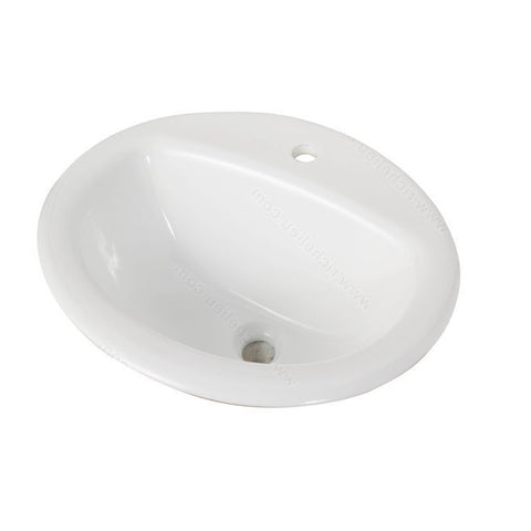 Riveo round bathroom sink vessel one hole drop-in porcelain white washbasin for vanity ALD864