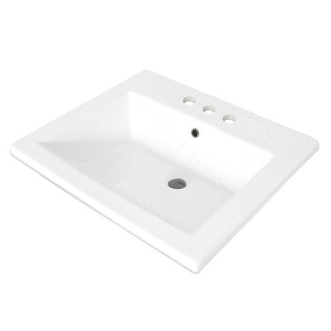 Riveo rectangle bathroom sink vessel drop in porcelain white washbasin for vanity ALD866