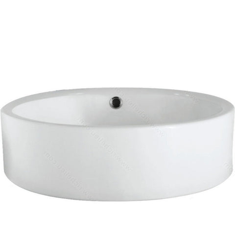 Riveo round bathroom sink vessel surface mounting porcelain white washbasin for vanity ALD868