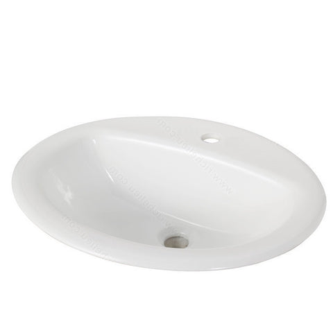 Riveo round bathroom sink vessel drop in porcelain white washbasin vanity ALD876