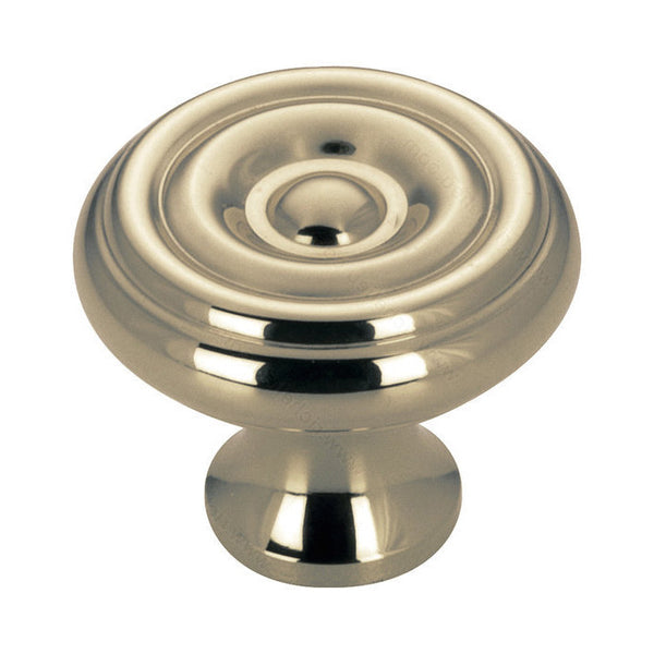 Kitchen cabinet knob with antique english finish, round decorative ripple shape from expression hardware collection.