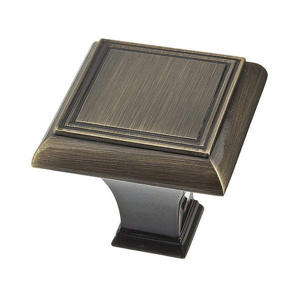 Square kitchen cabinet knob in classic antique english.