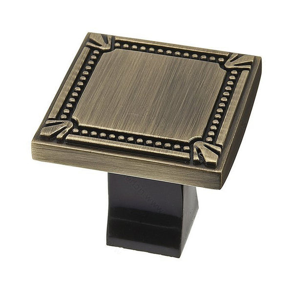Square kitchen cabinet knobs in classy antique english.