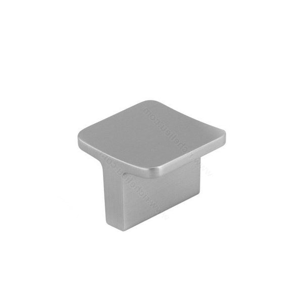 Kitchen cabinet knob contemporary square metal in brushed nickel.
