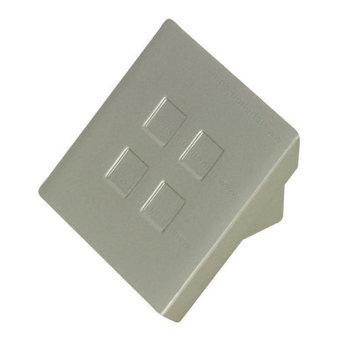 Contemporary brushed nickel kitchen cabinet knobs with decorative squares.