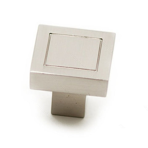 Cupboard knobs modern square in pretty brushed nickel.
